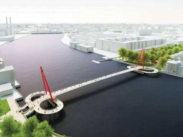 Designs for a new bicycle bridge across the river thames for Design bridge london