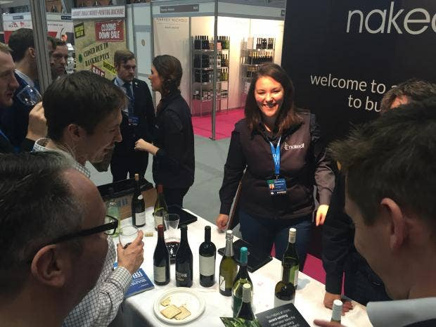 Delegates enjoy a spot of wine tasting at the Tory Conservative Party conference.JPG