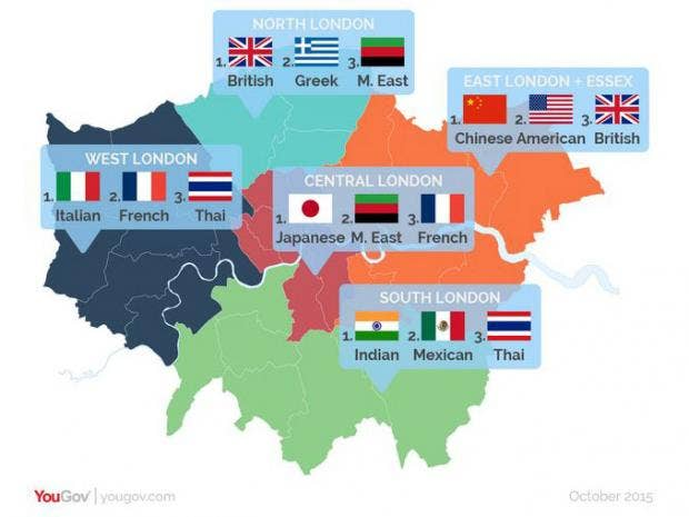 London Food Map Which Cuisines Are Popular In Which Parts Of The - Map of north london areas