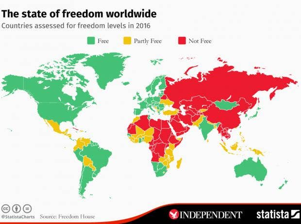 The map that shows most and least free countries in the world the worlds gumiabroncs Images