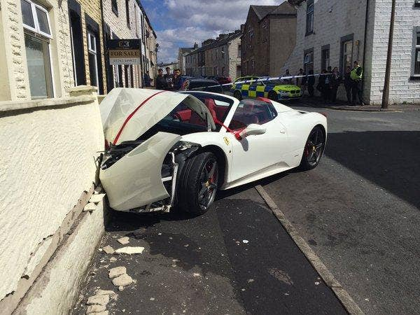 Groom Crashes Ferrari Worth Into Wall After Renting It