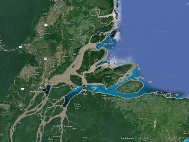 Scientists discover enormous coral reef at the amazon river the scientists have discovered an enormous coral reef at the mouth of the amazon river in brazil google earth gumiabroncs Images