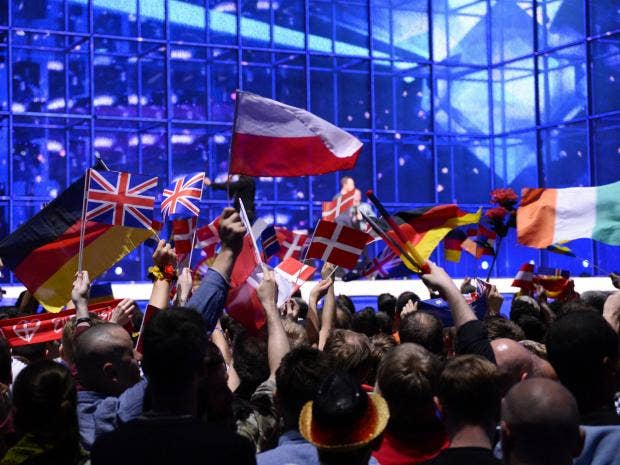 As a Polish immigrant whose family remembers war  this is why I     The Independent Europeans wave national flags to celebrate the Eurovision Song Contest in Copenhagen       Getty