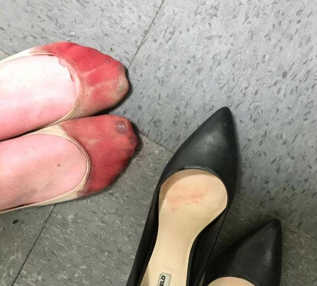 Waitress forced to wear high heels at work shares photo of her
