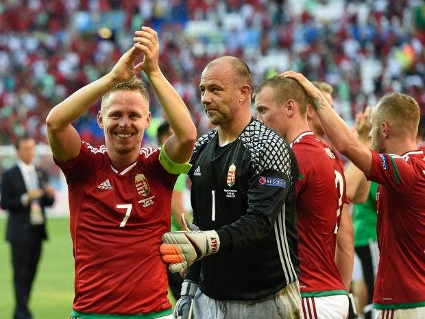 Hungary's players celebrate their qualification as group winners Getty