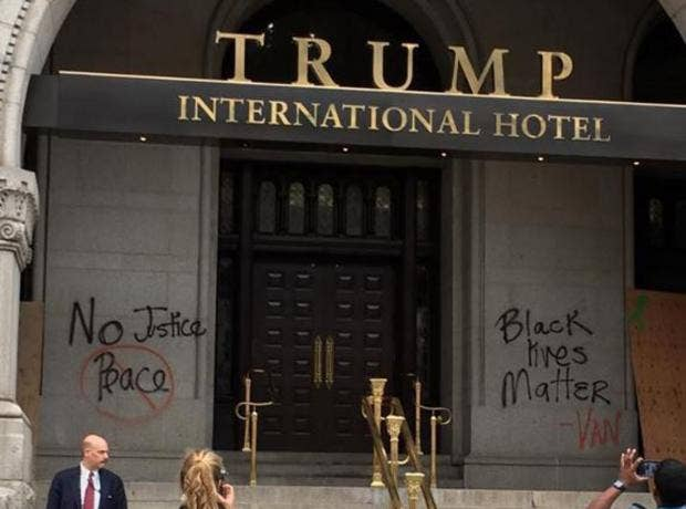 Donald trump 39 s new luxury hotel graffitied with 39 black for Luxury independent hotels