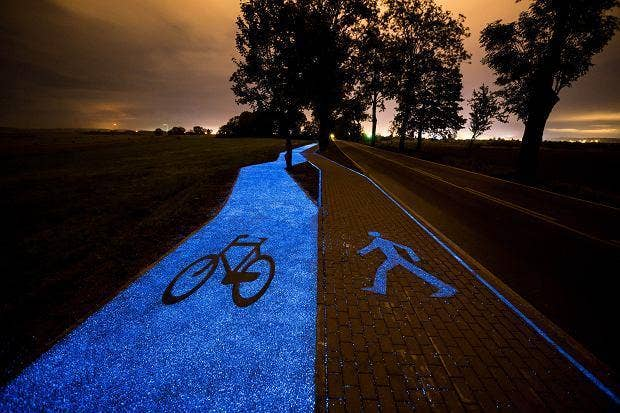 Poland has glowing blue bike lanes that are charged by the Sun