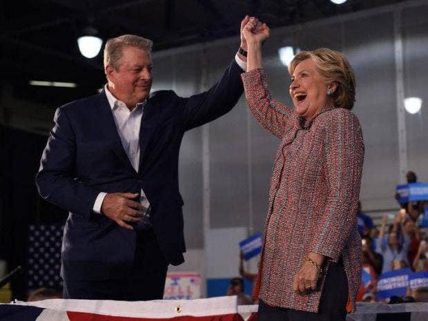 Al Gore joins Hillary Clinton at Miami Dade College