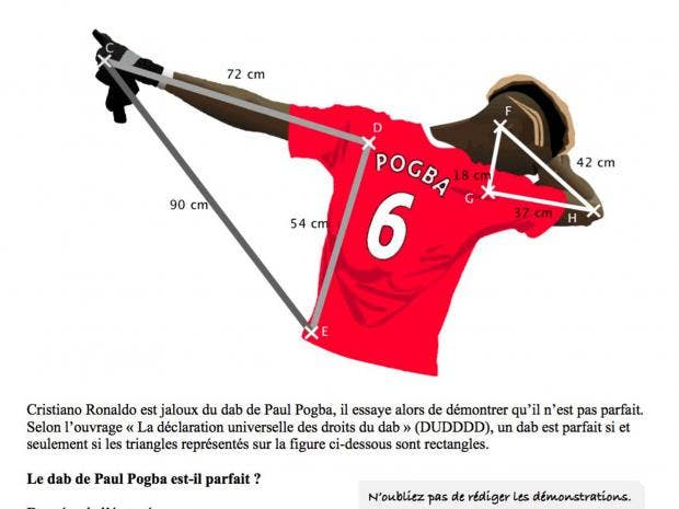 dabb dance. the maths question based on pogba\u0027s \u0027dab\u0027, devised by a french teacher dabb dance s