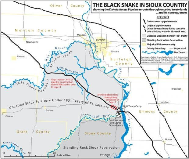 mr sack s map shows the threat to the sioux tribe s water source carl sack