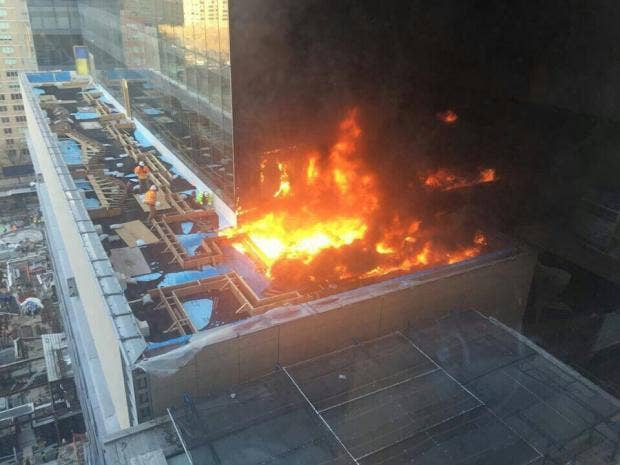 Flames shoot from NYC hospital building under construction