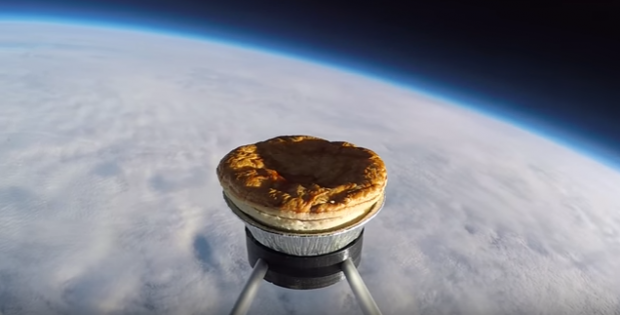 History is made as a pie is launched into space!