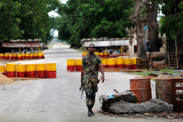 A soldier walks past a checkpoint in the Boko Haram stronghold of Borno  State, Nigeria Reuters/Afolabi Sotunde