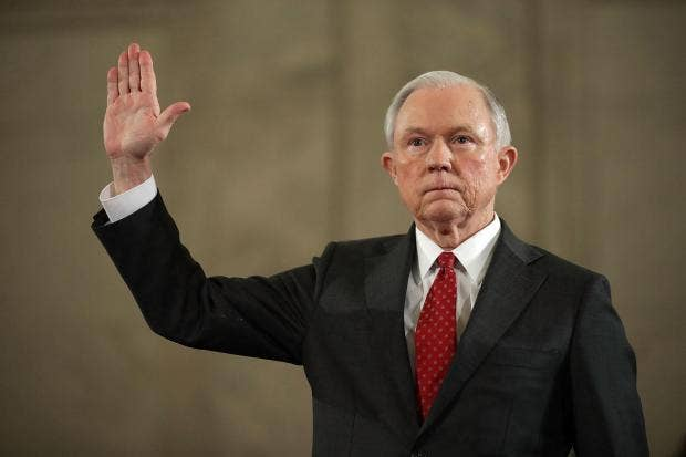 Image result for SEnator Sessions right hand raised