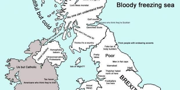 The stereotype map of the UK after Brexit  indy100