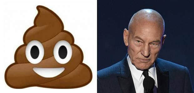 sir patrick stewart discusses why playing the poop emoji means so poop emoji patrick stewart jpg