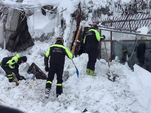 Fears for up to 30 people after avalanche hits Italy hotel