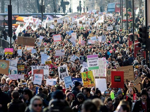 Protesters march in London against Trump