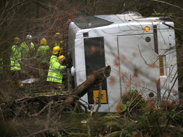 Five children taken to hospital after school bus carrying 44 pupils overturns