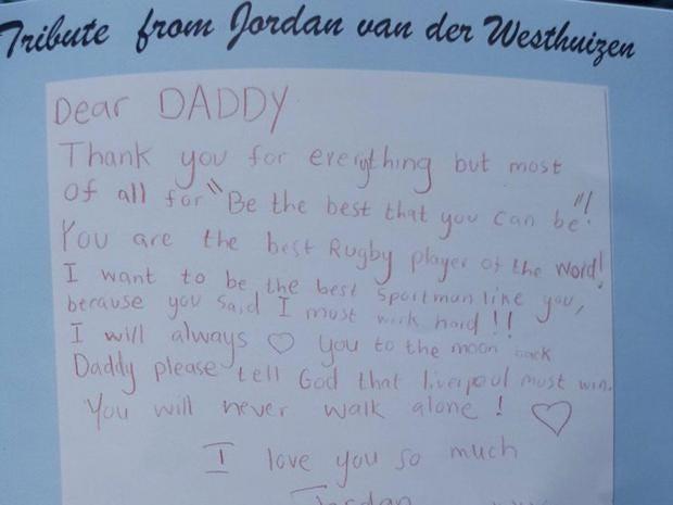 Joost van der Westhuizen s son Jordan pens heartbreaking letter to