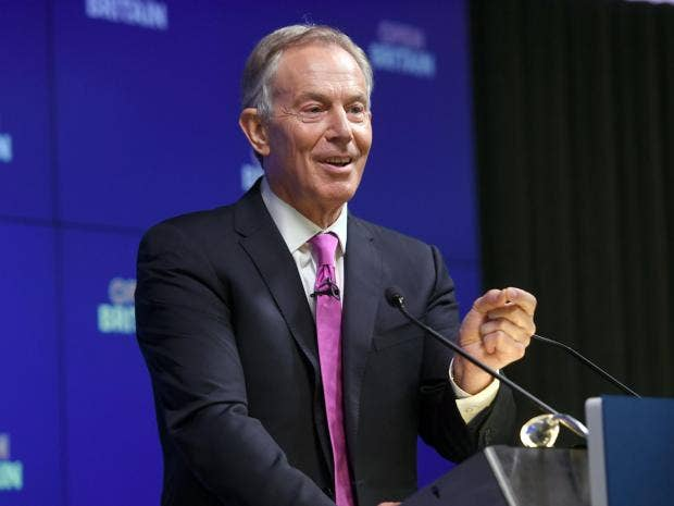 Former Prime Minister Tony Blair during his speech on Brexit at an Open Britain event