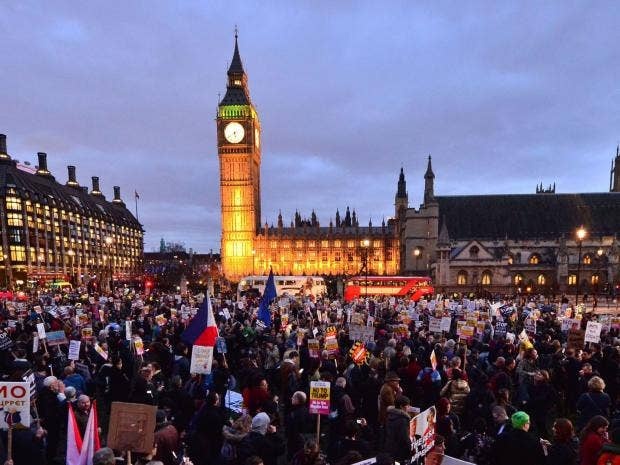 Thousands join Westminster protest against Donald Trump state visit