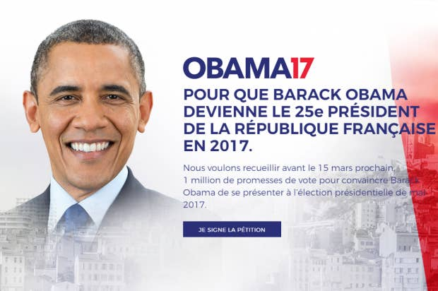 Voters call on Obama to run for president… of France