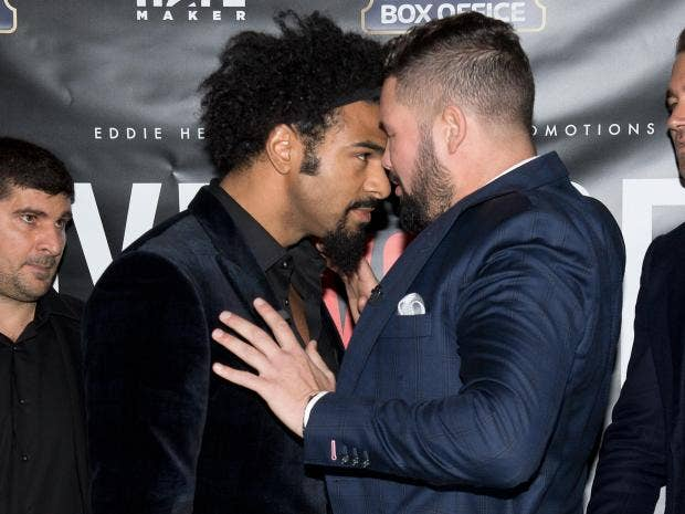 Footage appears to show member of David Haye's entourage clashing with fan