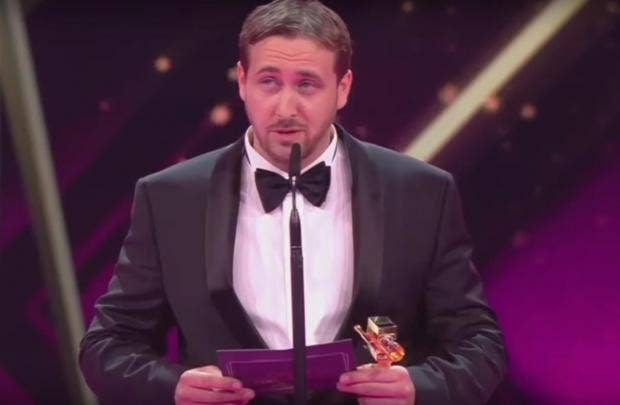 Ryan Gosling Lookalike Pulls Off Epic Prank on Live Awards Show