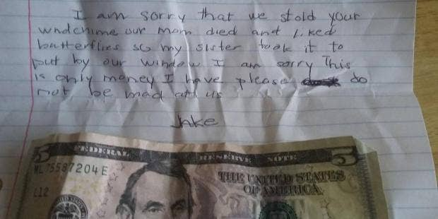 Woman finds 'Jake' who left $5, sorry note for stolen wind chime