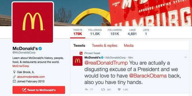 McDonald's Twitter account was hacked, posted anti-Trump tweet