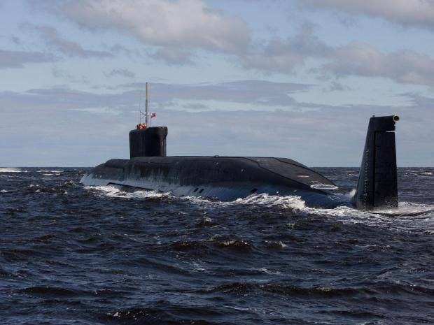 Russian nuclear submarine, Yuri Dolgoruky, is seen during sea trials near Arkhangelsk, Russia AP