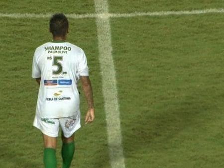 Brazilian club Fluminense de Feira advertise supermarket goods on their shirts