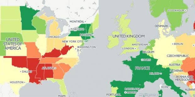 a map of life expectancy in the us and europe