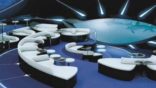 Αποτέλεσμα εικόνας για World's first underwater lounge will be launched by cruise ship