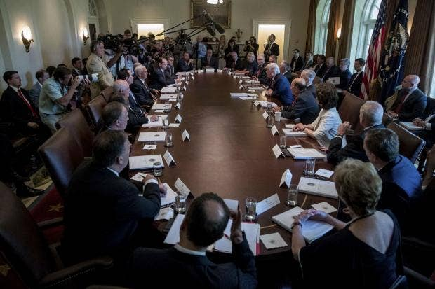 Donald Trump Laps Up The Praise During Meeting Of His Cabinet On Monday AP