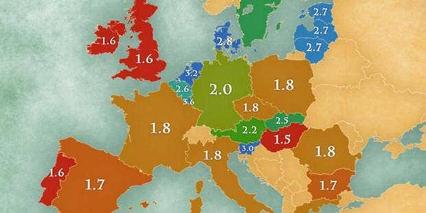 A Map Of The Average Number Of Languages Spoken By EU Countries - Languages spoken in each country of the world