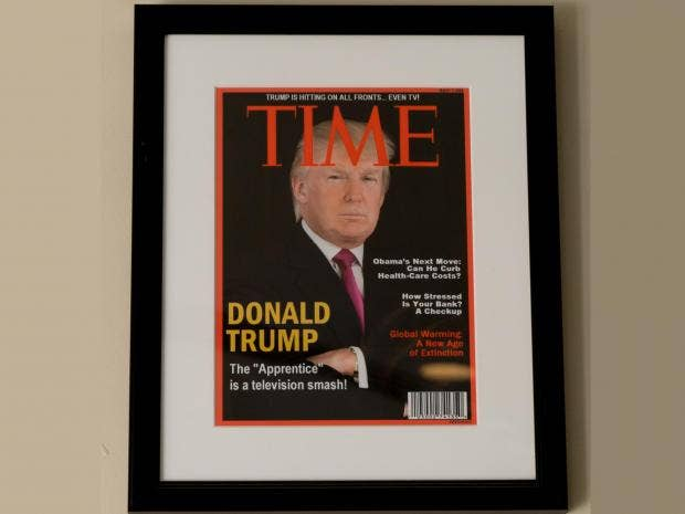 Donald Trump's golf resorts decorated with fake Time ...