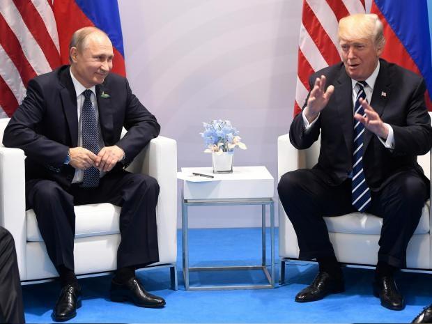 Russian President Vladimir Putin and Donald Trump meet in Hamburg, Germany at the G20 summit SAUL LOEB/AFP/Getty Images