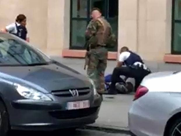 Image result for Man shot after stabbing troops brussels