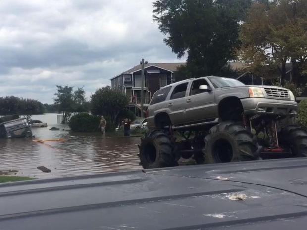 hurricane harvey monster truck fleet helps rescue houston