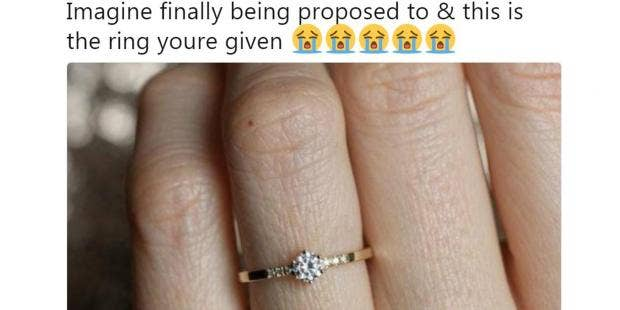 Woman Shares Photo Of Her Small Engagement Ring And Gets Destroyed