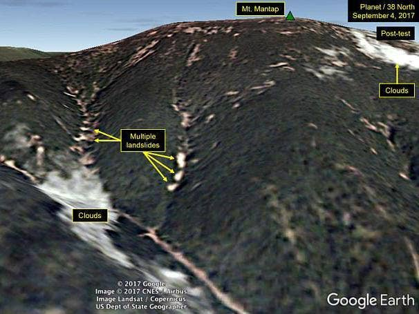 Image result for map of mountain where North Korea detonated its hydrogen bomb test