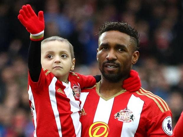 Bradley Lowery with football star at Stadium of Light, Sunderland