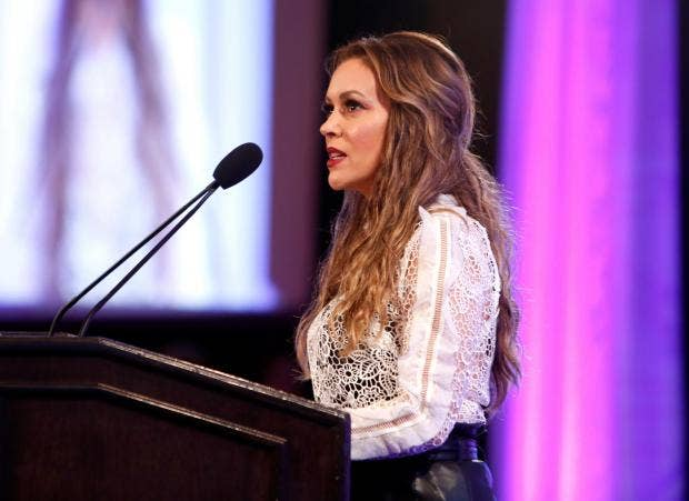 Actress Alyssa Milano speaks at the 2017 World Of Children Hero Awards at  Montage Beverly Hills Randy Shropshire/Getty Images for World of Children