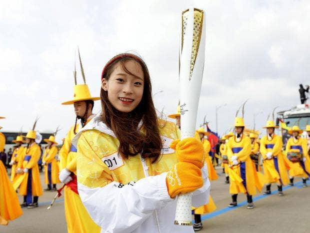 2018 winter olympic flame arrives in south korea with 100
