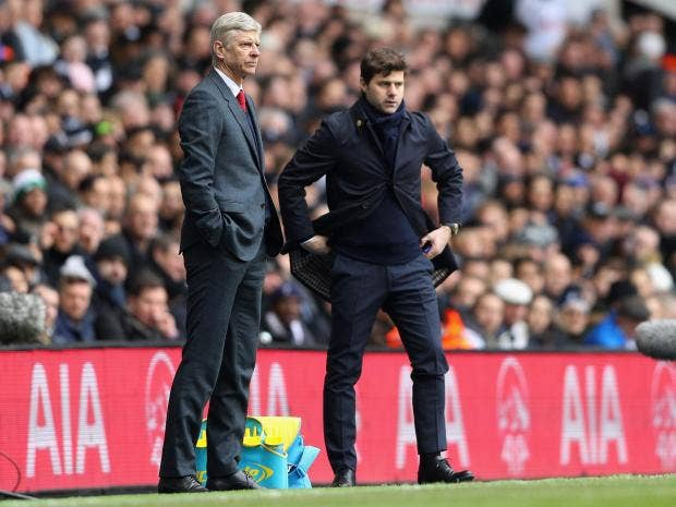 Image result for Mauricio Pochettino's Spurs and Arsene Wenger's Gunners meet in a highly-anticipated North London derby on Saturday, with each club desperate for a win.
