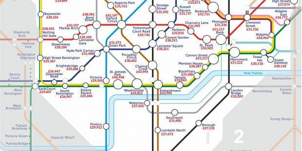 the london underground map of salaries