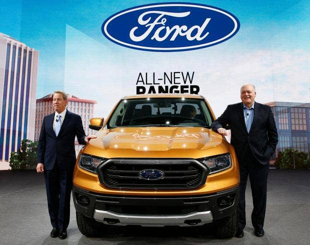 ford president car. bill ford, executive chairman of ford and jim hackett, president chief executive, present the 2019 ranger reuters car