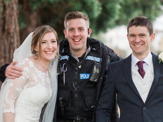 Couple's wedding pictures photobombed by police officers chasing suspected  drug dealers. '